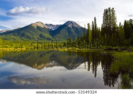 Beautiful reflection in a lake in Banff National Park, Alberta, Canada - stock photo