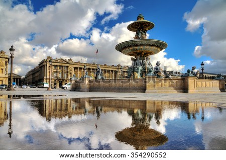 Beautiful reflection of the fountain at place de la Concorde in Paris, France - stock photo