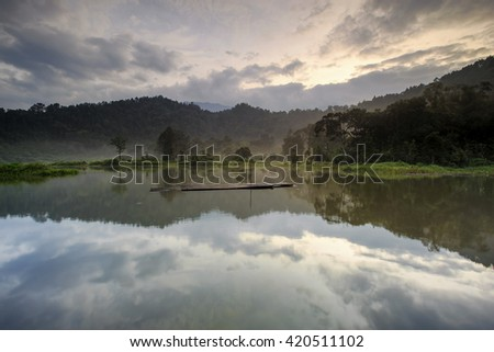 beautiful reflection on lake,,west java indonesia