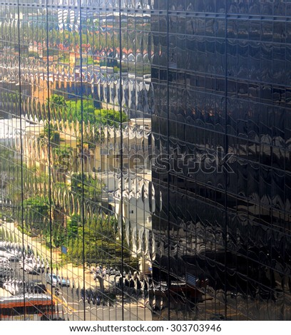 Beautiful Reflections In a Office Building. - stock photo