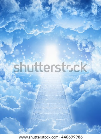 Beautiful religious background - stairs to heaven, stairway leading up to skies, bright light from heaven door - stock photo