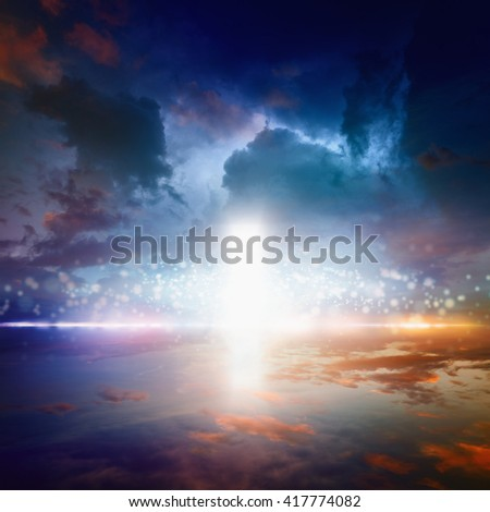 Beautiful religious background - way to heaven, bright light from heaven door, glowing horizon - stock photo