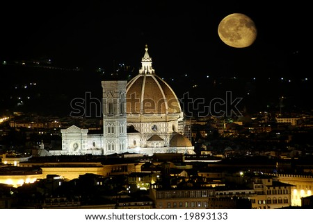 Beautiful renaissance cathedral Santa Maria del Fiore in Florence, Italy at night with moon