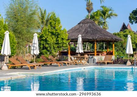 Beautiful resort on Samosir island, Sumatra, Indonesia - stock photo