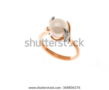 Beautiful ring with pearl isolated on white... - stock photo