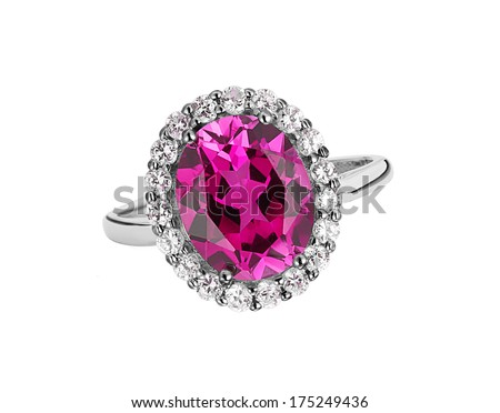 beautiful ring with pink amethyst gem (stone) isolated on white background - stock photo