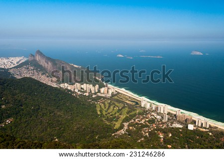 Beautiful Rio de Janeiro Landscape with Mountains, Urban Areas, Ocean in the Horizon