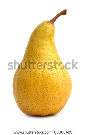 Beautiful ripe yellow pear on white background - stock photo