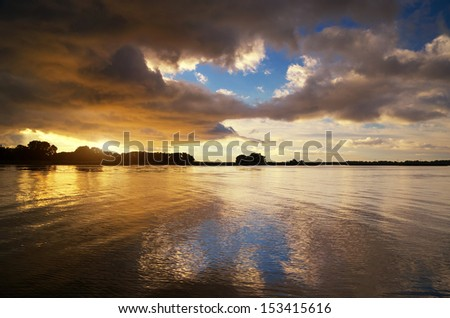Beautiful river landscape Composition of nature. - stock photo