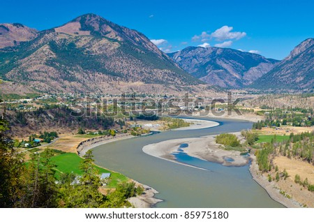 Beautiful River over gorgeous mountains in Lillooet, British Columbia, Canada.