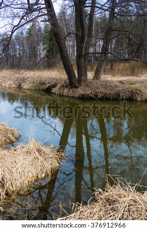 Beautiful river scenery in spring April day in the Ivanovo region, Russia.