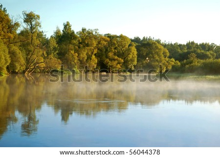 Beautiful river view and a summer forest - stock photo