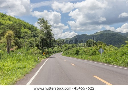 Beautiful road mountain and sky in thailand