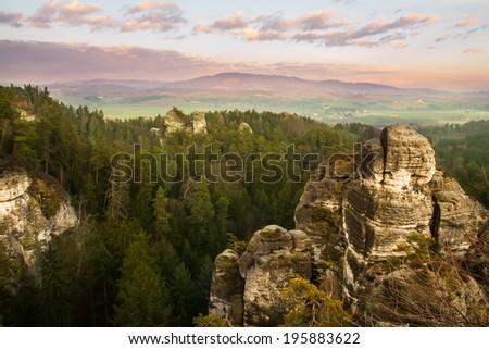 Beautiful rocks in Bohemian Paradise, Czech republic - stock photo