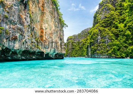 Beautiful rocks mountain and crystal clear sea at Krabi, Thailand - stock photo