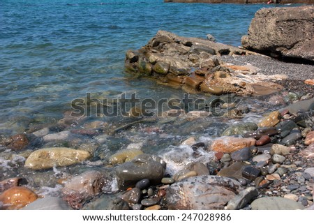 Beautiful rocky beach on the coast sea
