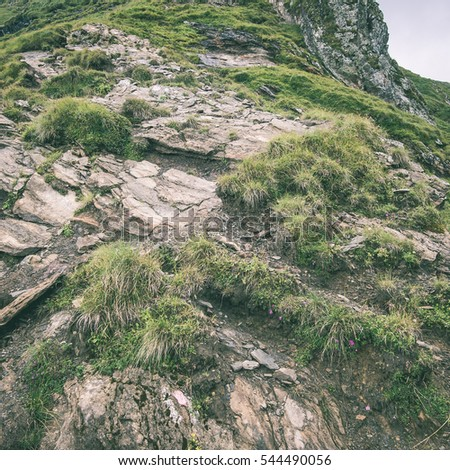 Beautiful rocky view in Southern Carpathians, Romania - instant vintage square photo