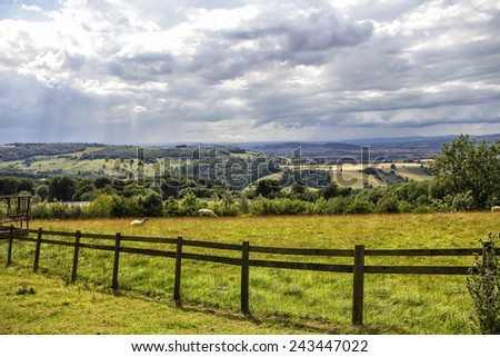 Beautiful rolling hills in the English countryside - stock photo