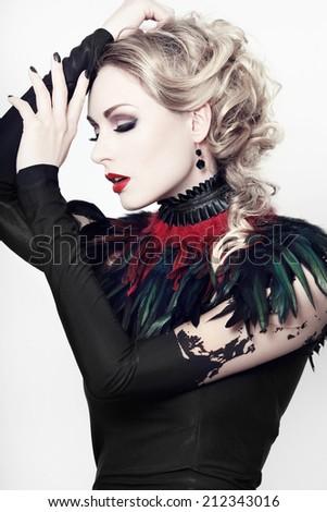Beautiful, romantic gothic styled woman  - stock photo