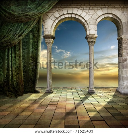 Beautiful romantic place with view of Sunset - stock photo