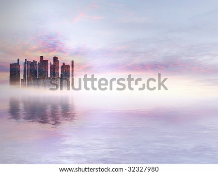 Beautiful romantic Science-Fiction City-Water-Landscape with sunset for background - stock photo