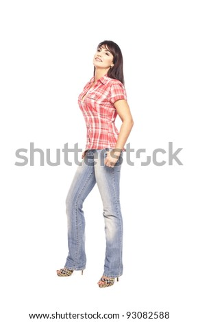 Beautiful Romantic sexy harmonious Woman portrait in cowboy costume Checkered shirt and blue fitting jeans isolated  on white background in studio closeup - stock photo