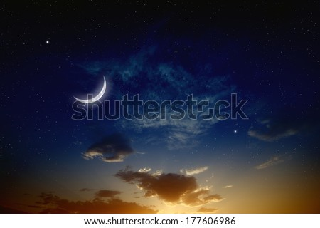 Beautiful romantic sunset, moon and bright stars in dark blue sky. Elements of this image furnished by NASA - stock photo