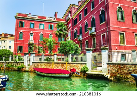 Beautiful romantic Venetian scenery, colorful houses on the canal, Venice, Italy - stock photo