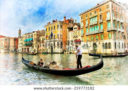 beautiful romantic Venice - artistic picture - stock photo