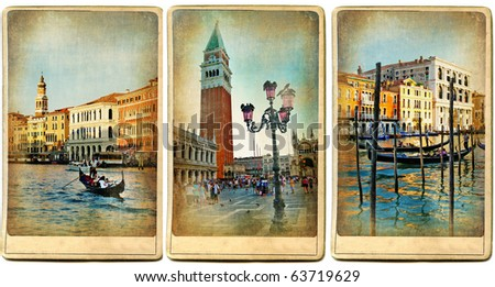 beautiful romantic Venice- retro cards - stock photo
