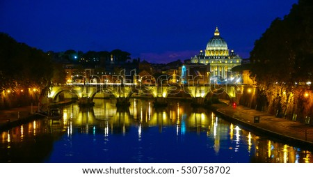 Beautiful Rome and Vatican by night - view from River Tiber - ROME / ITALY, NOVEMBER 6, 2016