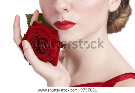 beautiful rose and red lips - stock photo