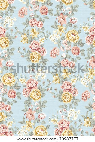beautiful Rose bouquet design Seamless pattern with blue background