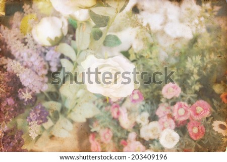 Beautiful rose of artificial flowers (vintage soft filtered) - stock photo