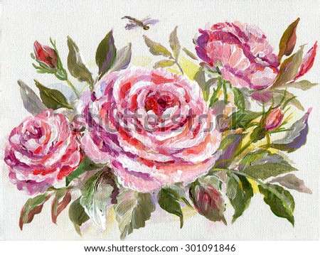 Beautiful Roses and dragonfly. Original oil painting on a canvas. - stock photo