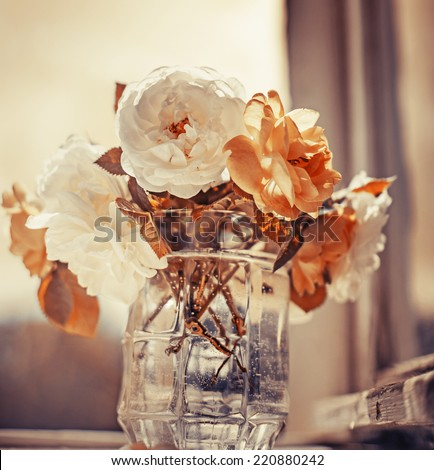Beautiful roses on wooden background/holidays romantic background - stock photo