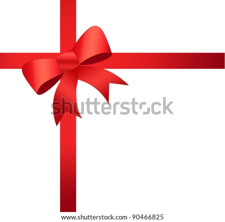 Beautiful rosette ribbon on gift box. Perfect for promotional items, christmas & seasons greetings.