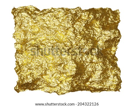 Beautiful rough brilliant metallic texture from gold foil  - stock photo
