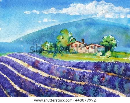Beautiful rows of blooming lavender fields with house and mountain in distance. Watercolor travel and vacation illustration. Original landscape painting.
