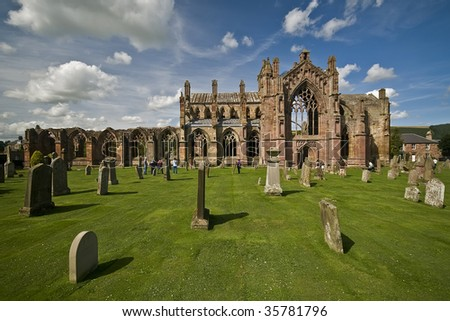Beautiful ruin of Melrose Abbey in Scotland - stock photo