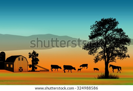 Beautiful rural landscape with barn and farm animals, background illustration