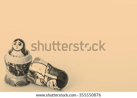 Beautiful Russian Dolls Matryoshka Isolated on a white background - stock photo