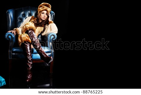 Beautiful Russian girl in New Year concept. - stock photo