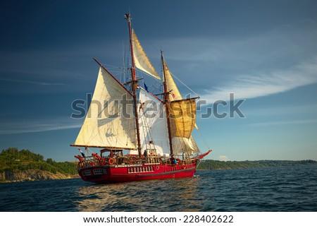 Beautiful sailing ship - stock photo