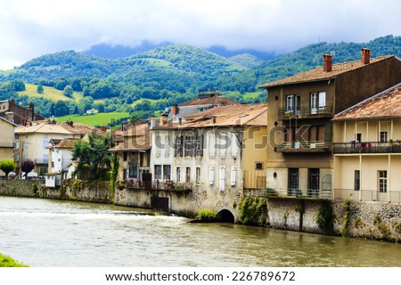 Beautiful Saint-Girons town in Ariege, Midi-Pyrenees, France - stock photo