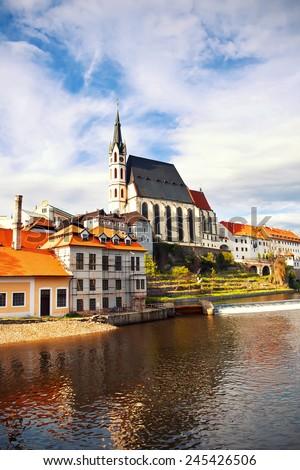 Beautiful Saint Vitus cathedral in Cesky Krumlov, Czech Republic - stock photo