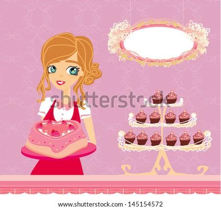beautiful saleswoman in a bakery - stock photo