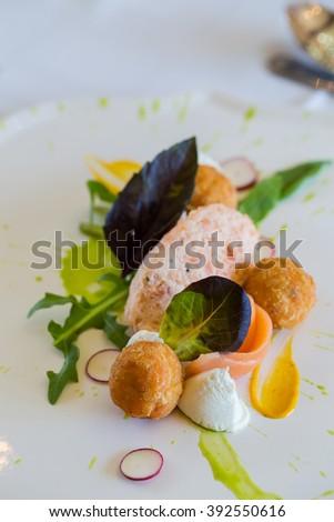 Beautiful salmon pate dish in a gourmet restaurant. - stock photo