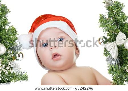 Beautiful santa baby boy isolated a white background - stock photo