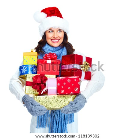 Beautiful Santa helper christmas girl with  gifts isolated on white background. - stock photo